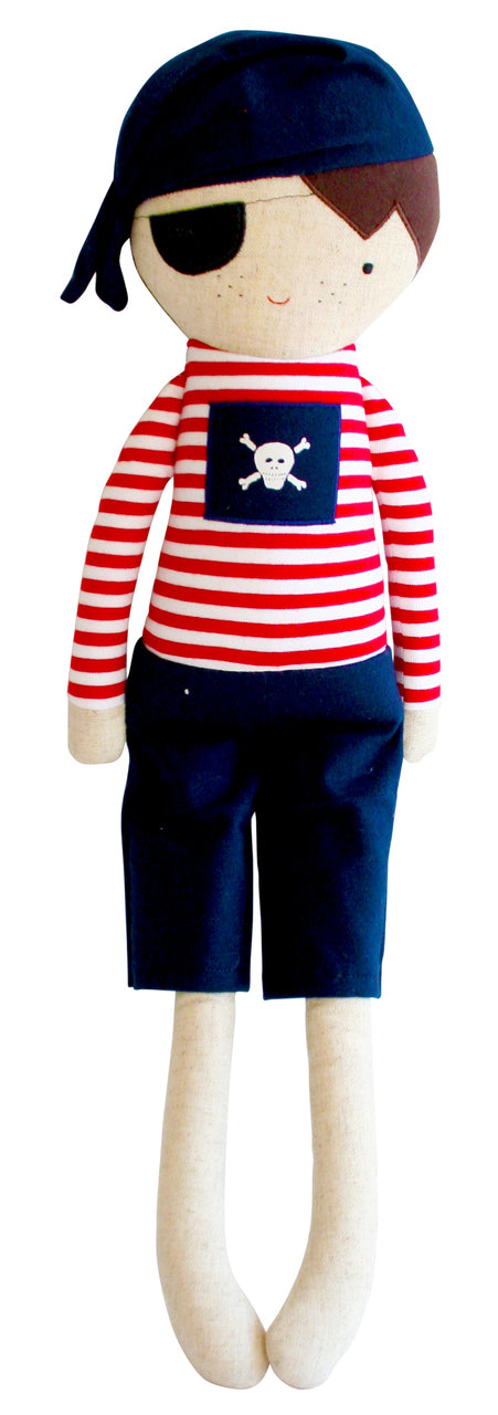 ALIMROSE SMALL LINEN PIRATE BOY RATTLE (30CM)