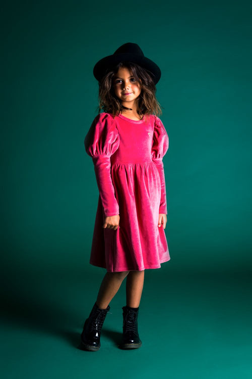 ROCK YOUR KID DARK PINK CORDUROY DRESS
