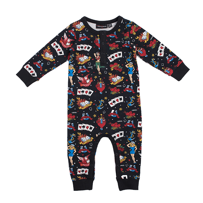 ROCK YOUR BABY OLD SCHOOL TATTOO LS PLAYSUIT