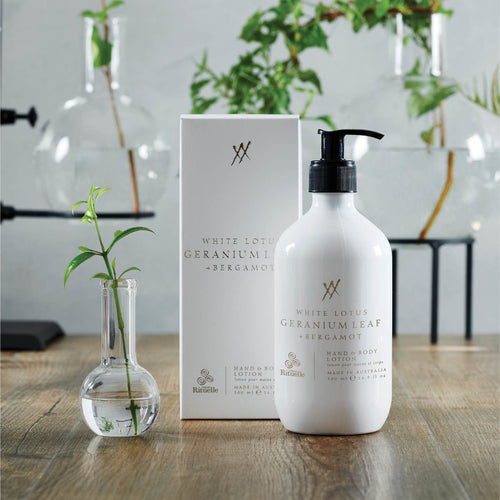 WHITE LOTUS, GERANIUM LEAF AND BERGAMONT HAND AND BODY LOTION