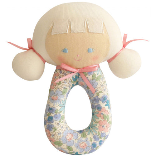 ALIMROSE AUDREY GRAB RATTLE 16CM LIBERTY BLUE