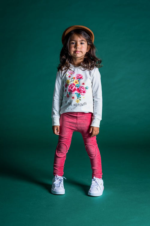 ROCK YOUR KID DARK PINK CORDUROY KNEE PATCH TIGHTS