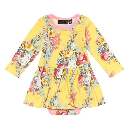ROCK YOUR BABY FLORAL CHINTZ BABY WAISTED DRESS