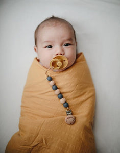Mushie Muslin Swaddle Blanket Organic Cotton - Roman Green