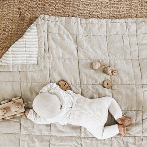 7pm Linen Quilted Blanket/Playmat - Natural