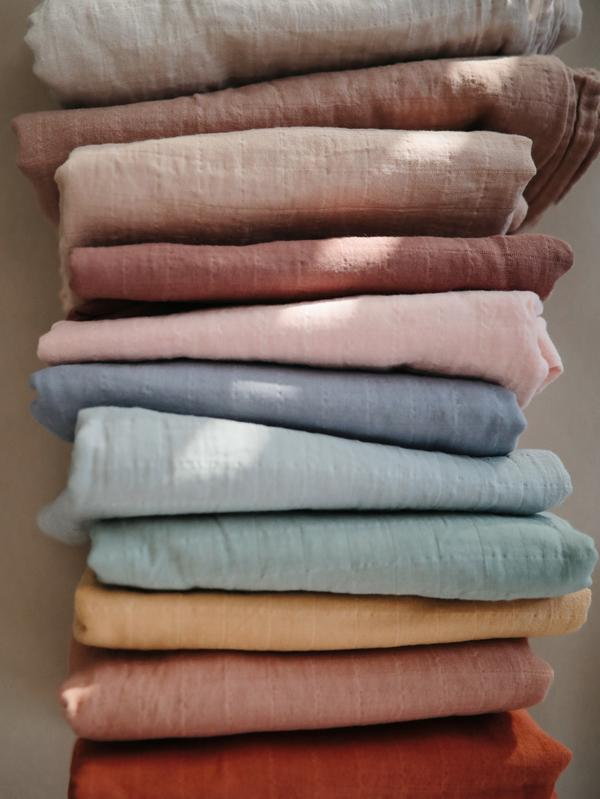 Mushie Muslin Swaddle Blanket Organic Cotton - Fog