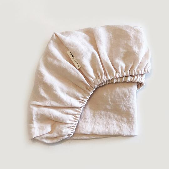7pm Linen Fitted Cot Sheet - Peony