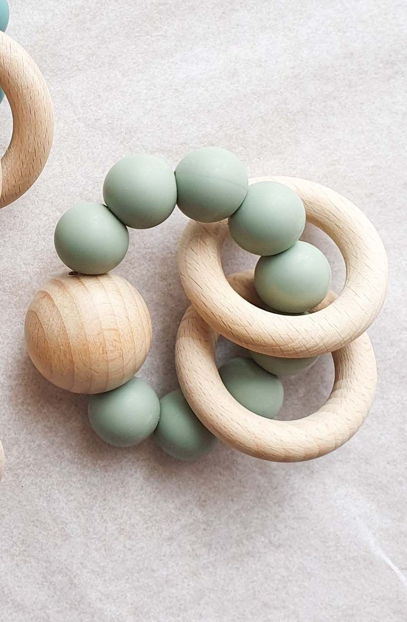 Dove & Dovelet Saturn Teether - Sage