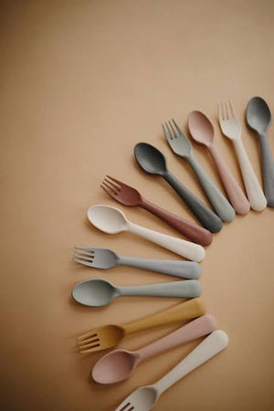 Mushie Fork & Spoon Set, Ivory