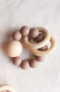 Dove & Dovelet Saturn Teether - Burlwood