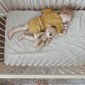 7pm Linen Fitted Cot Sheet - Natural
