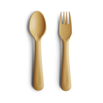 Mushie Fork & Spoon Set, Mustard