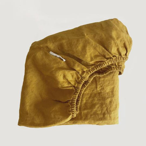7pm Linen Fitted Cot Sheet - Mustard