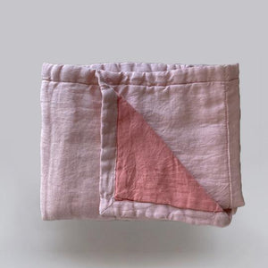 7pm Linen Quilted Blanket/Playmat - Floss + Coral