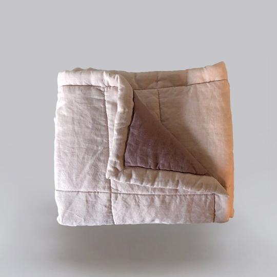 7pm Linen Quilted Blanket/Playmat - Peony + Rosewood