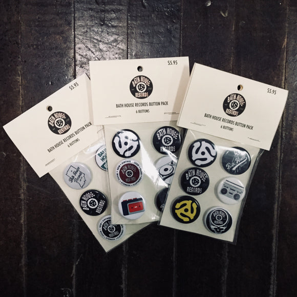 Bath House Records 6 Piece Button Pack