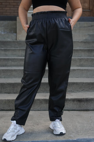 Faux leather trouser pant with a paper bag waist