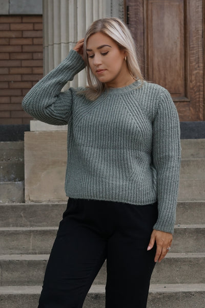 Sage green chunky knit sweater