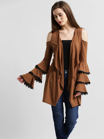 Texco Women Brown Cold Shoulder Ruffle Sleeve Stylish Shrug