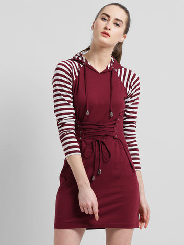 Texco Women Maroon & White Raglan Sleeve Hooded Front Tie up Grommets Detailed Dress