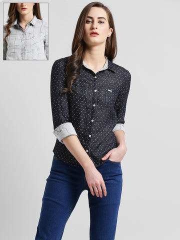 Texco Women Black & grey Self Printed Reversible Shirt