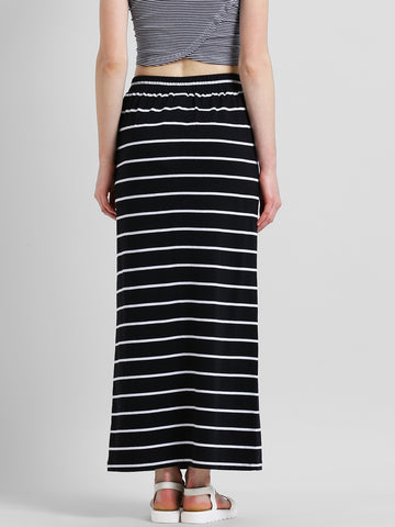 Texco Women Black & White Striped Tie-up Waist Maxi Skirt