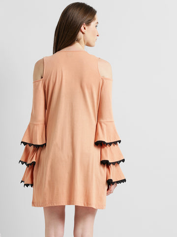 Texco Peach Cold Shoulder Ruffle Sleeve Stylish Shrug