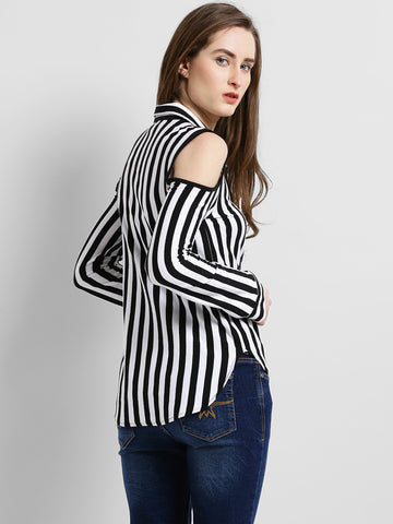 Texco Women Black & White Striped Cold Shoulder Full Sleeves Shirt