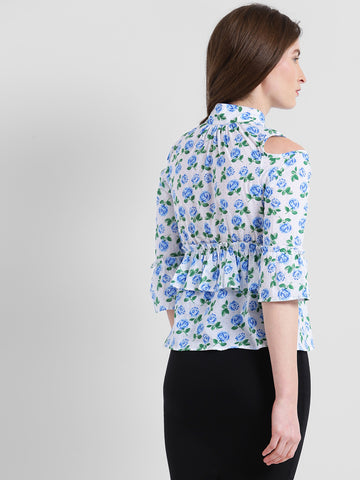 Texco Women Blue Floral Printed Ruffled Top