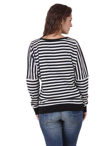 Texco Cotton Jersey Black & White Stripe Kimono Sleeve Top