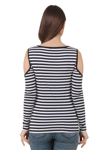 Texco Black and White Stripe Cut Out Shoulder Top