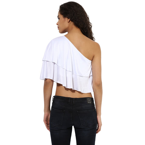 Texco Women's One Off Shoulder Ruffled Crop Top