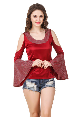 Texco Women's Cut Out Shoulder Top