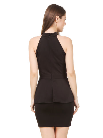Texco Women's Cut Out Neck Little Black Party Dress