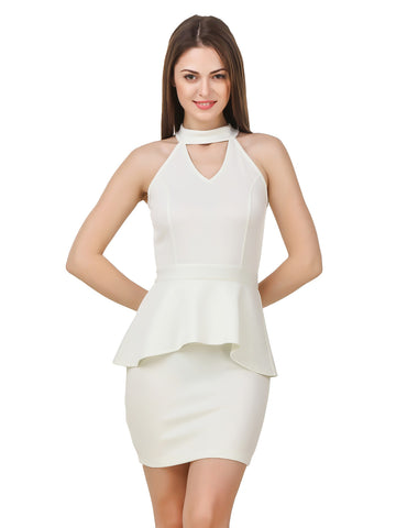 Texco Women's Cut Out Neck Off White Party Dress