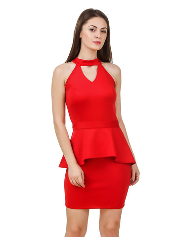 Texco Women's Cut Out Neck Red Party Dress