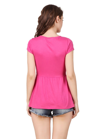 Texco Women's Cutout Neck With Drawstring Styling Peplum Trendy Top