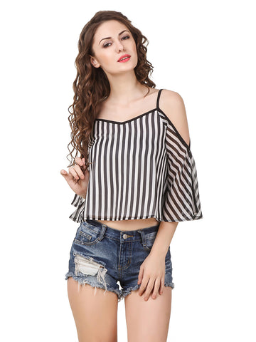 Texco Women's Stripe Cold Shoulder Stylish Trendy Top