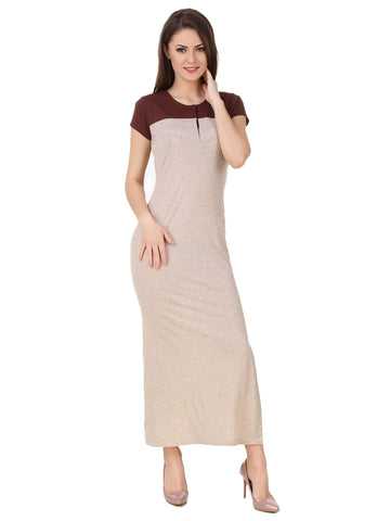 Texco Henley Neckline Side Slit Stylish Maxi Dress