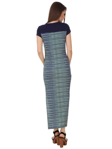Texco Henley Neckline Printed Slit Stylish Maxi Dress
