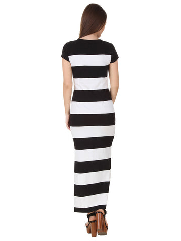 Texco Henley Neckline Stripe Slit Stylish Maxi Dress