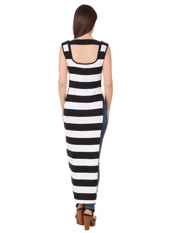 Texco Stripe High Slit Sexy Party Maxi Top