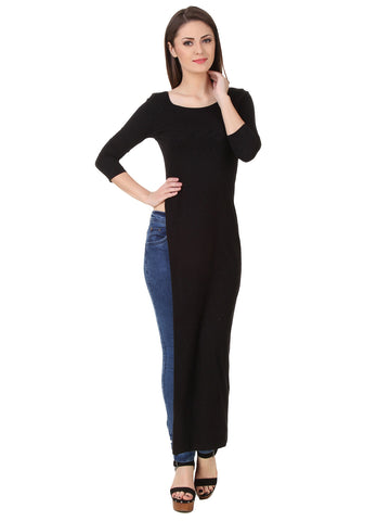 Texco Solid High Slit Sexy Party Maxi Top