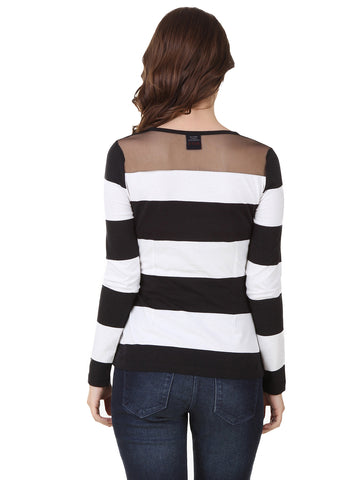 Texco Stripe Smart Casual Sheer Shoulder Yock Top