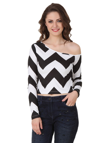 Texco Chevron Print Crop Top