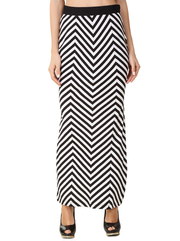 Texco Stripe Full Length Side Slit Skirt