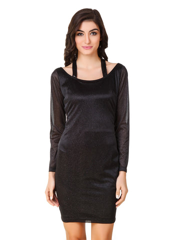 Texco Black Shimmer Body con Stylish Neck Party Dress