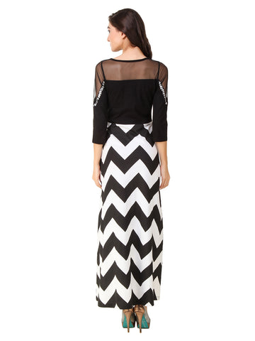 Texco Black Chevron Printed Embellished Neck Party Dress