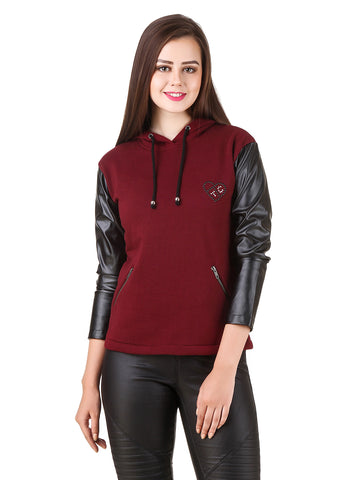 Texco Leather Long Sleeve Party Sweatshirt
