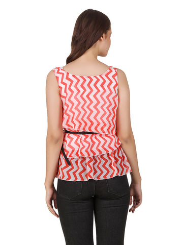 Texco Chevron Printed Layered Top With Belt